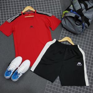 Set thể thao nam Yano Gym Vai Phối Sọc Xanh Da