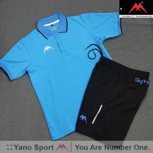 Set thể thao nam Yano Gym Cổ Trụ Bo Sọc Xanh Dương