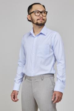 Áo sơ mi xanh nhạt chấm bi regular fit